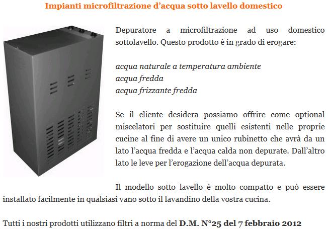Impianti microfiltrazione d'acqua sotto lavello domestico